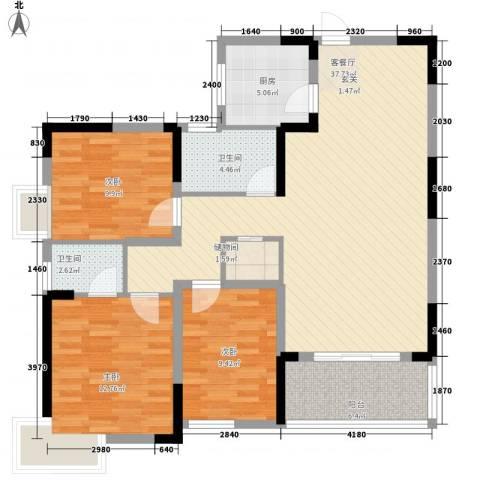 集美大唐世家3室1厅2卫1厨128.00㎡户型图