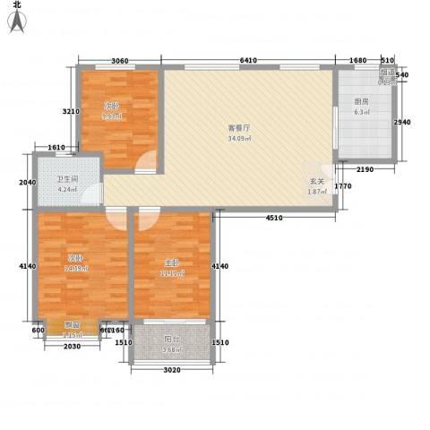 人民家园二期3室1厅1卫1厨117.00㎡户型图