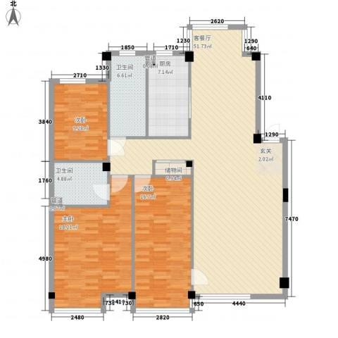 万科上东区3室1厅2卫1厨138.00㎡户型图