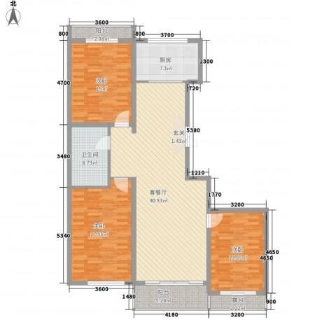 裕丰景苑二期3室1厅1卫1厨156.00㎡户型图