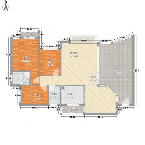 汇景盛世东方3室1厅2卫1厨119.67㎡户型图