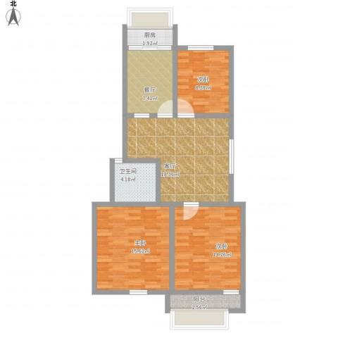 天成阳光花园3室2厅1卫1厨106.00㎡户型图