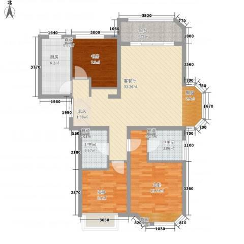华夏奥韵3室1厅2卫1厨80.72㎡户型图