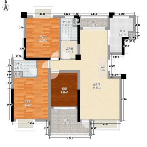 沃得城市中心3室1厅2卫1厨129.00㎡户型图