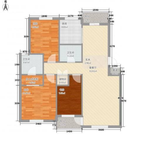 新港假日3室1厅2卫1厨114.00㎡户型图