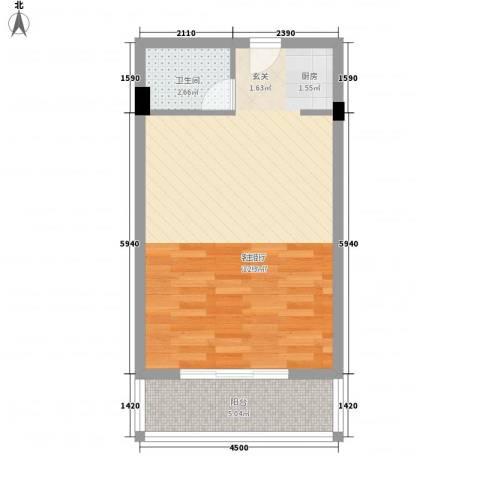 椰岛滨海国际公寓1厅1卫0厨50.00㎡户型图