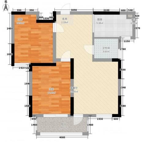 建德花园百合苑2室1厅1卫1厨89.00㎡户型图