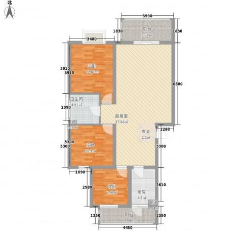 安信花园3室0厅1卫1厨89.14㎡户型图