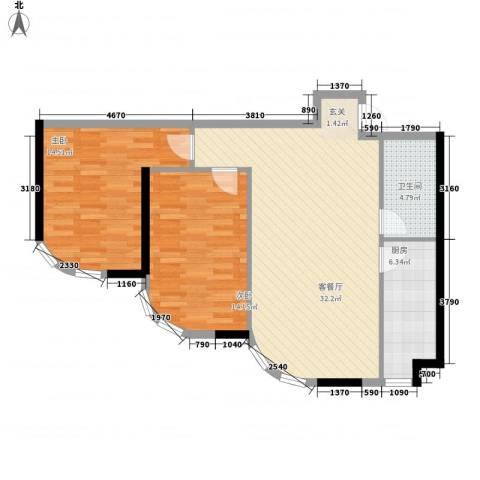阳光馨苑2室1厅1卫1厨101.00㎡户型图