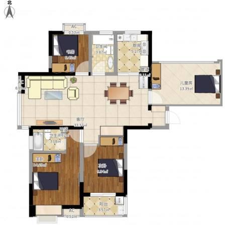 东方尚院4室1厅2卫1厨136.00㎡户型图