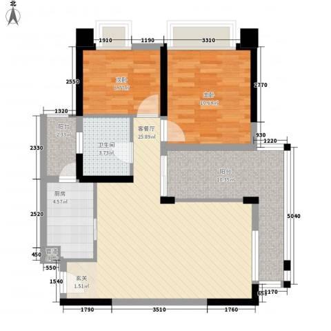 金辉苹果城2室1厅1卫1厨65.00㎡户型图