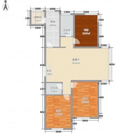 裕丰景苑二期3室1厅2卫1厨148.00㎡户型图