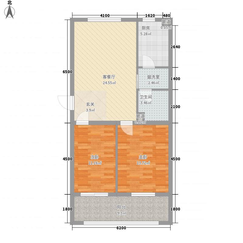 景阳公寓1.45㎡C户型2室2厅1卫1厨