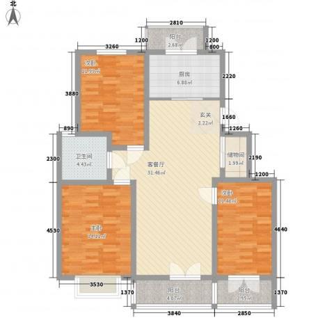 时代花园四期3室1厅1卫1厨133.00㎡户型图