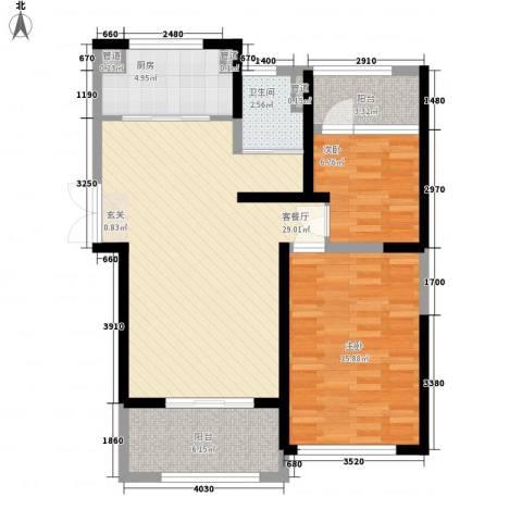 星雨华府2室1厅1卫1厨69.12㎡户型图
