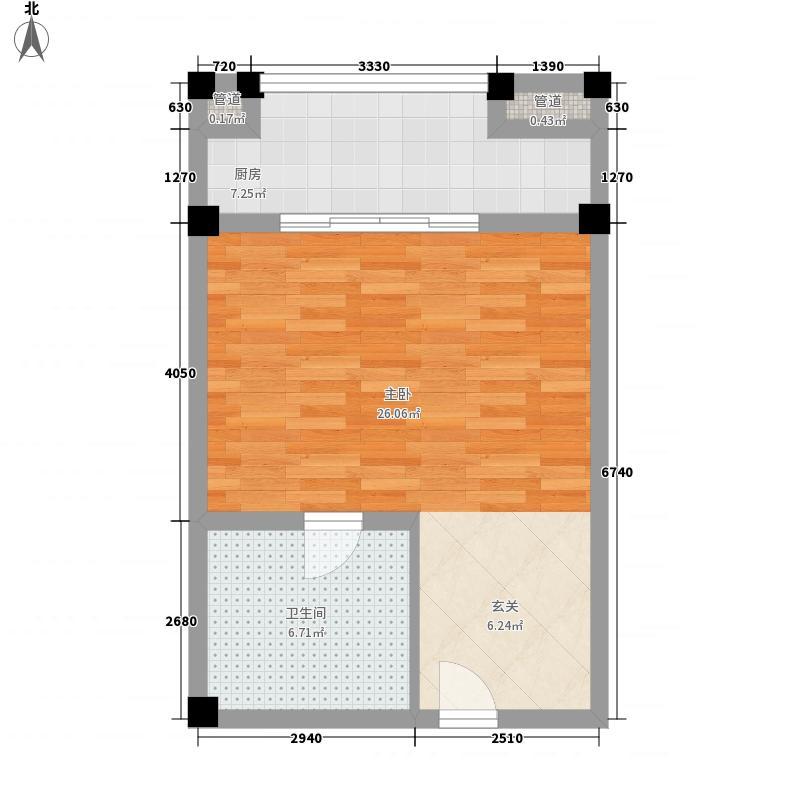 衍宏三亚春天酒店公寓58.24㎡A户型1室1卫1厨