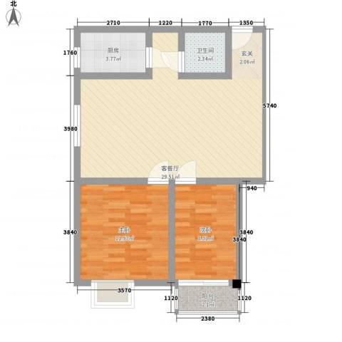 鸿信大厦2室1厅1卫1厨83.00㎡户型图