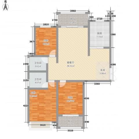 安阳义乌国际商贸城/义乌城3室1厅2卫1厨143.00㎡户型图