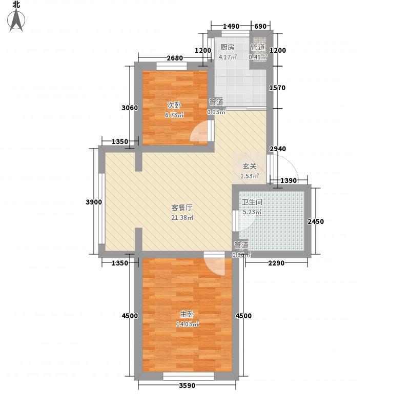 恒安天一名筑70.48㎡恒安天一名筑户型图2室2厅1卫户型10室