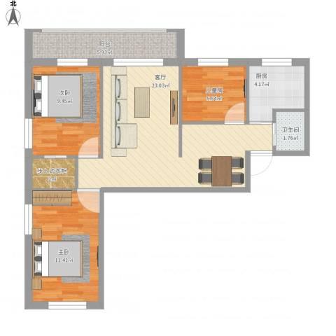 双榆树南里3室1厅1卫1厨85.00㎡户型图
