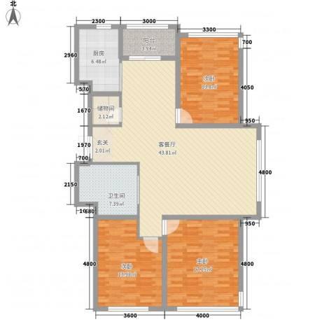 裕丰景苑二期3室1厅1卫1厨152.00㎡户型图