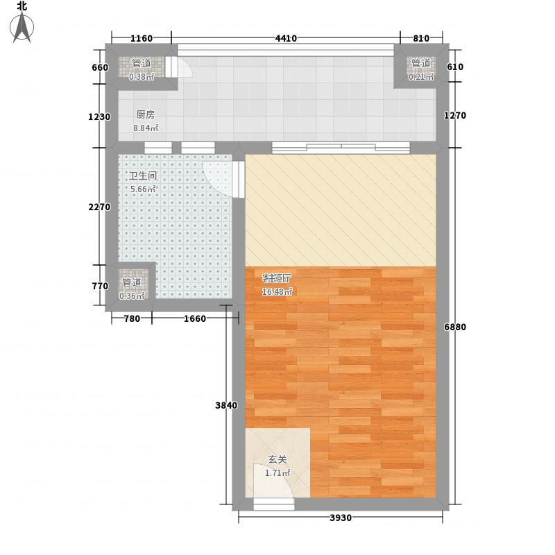 衍宏三亚春天酒店公寓58.24㎡C户型1室1卫1厨