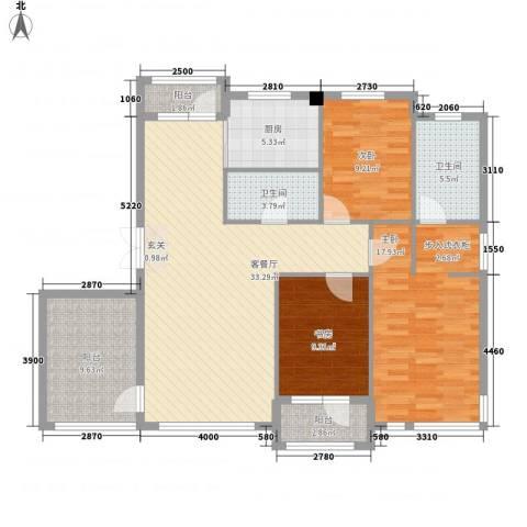 宏昌公寓3室1厅2卫1厨139.00㎡户型图