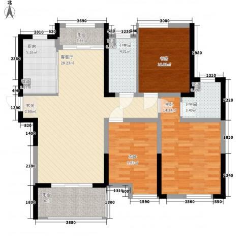 济民可信艾溪康桥3室1厅2卫1厨112.00㎡户型图