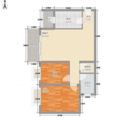 英皇湖畔花苑2室1厅1卫1厨100.00㎡户型图
