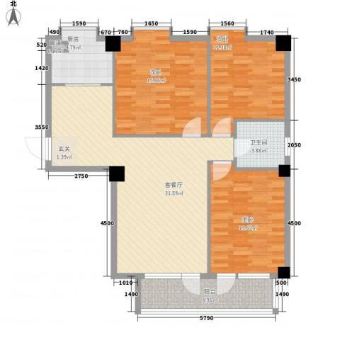 德泰时代广场3室1厅1卫1厨121.00㎡户型图