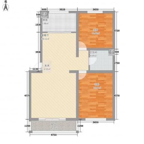 锦绣园2室1厅1卫1厨112.00㎡户型图