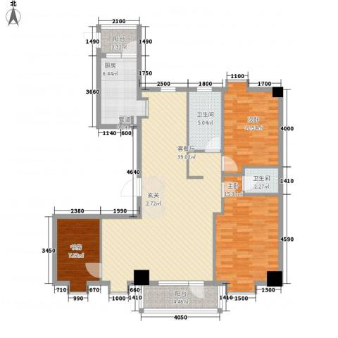 德泰时代广场3室1厅2卫1厨138.00㎡户型图