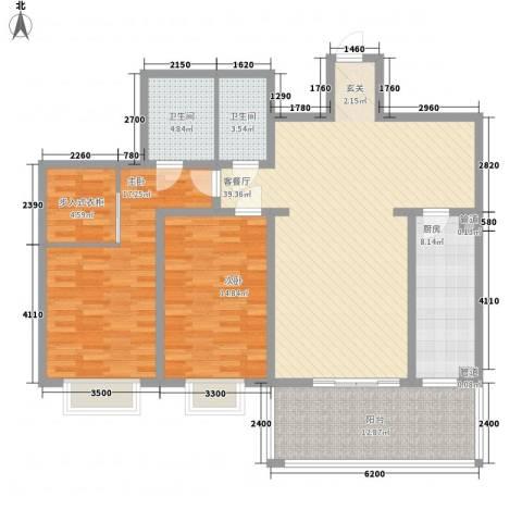 中信商业广场2室1厅2卫1厨105.65㎡户型图