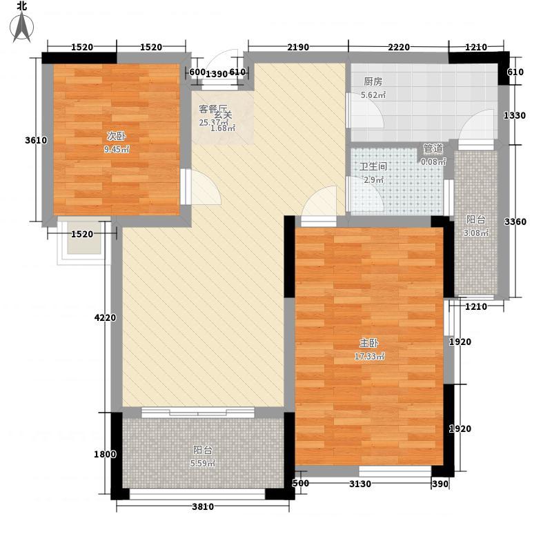 济民可信艾溪康桥81.70㎡一期高层2#A1户型2室2厅1卫1厨