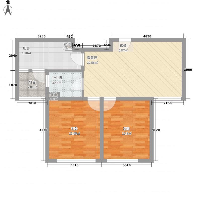 雅戈尔太阳城88.00㎡雅戈尔太阳城户型图一期高层2#B户型2室2厅1卫1厨户型2室2厅1卫1厨