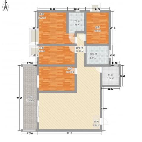 鸿信大厦4室1厅2卫1厨153.00㎡户型图