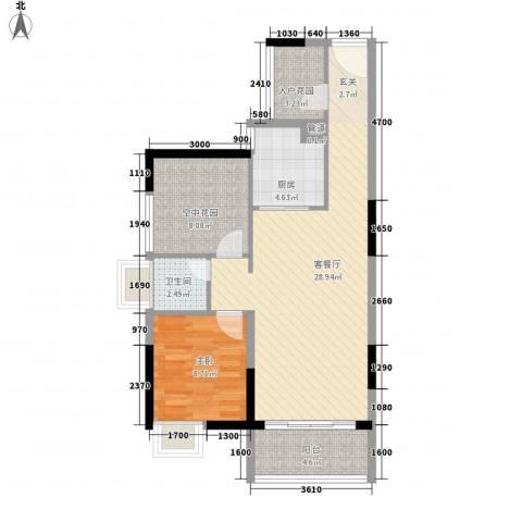 锦地繁花1室1厅1卫1厨87.00㎡户型图