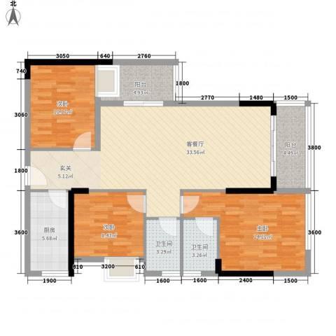 梅阳花园3室1厅2卫1厨125.00㎡户型图