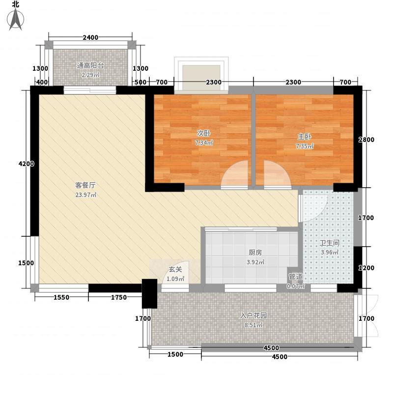 北海南岸77.57㎡5#01号房户型2室2厅1卫1厨