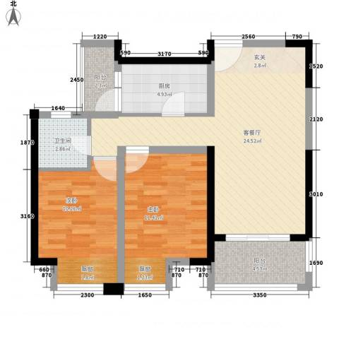 天安尚城2室1厅1卫1厨88.00㎡户型图