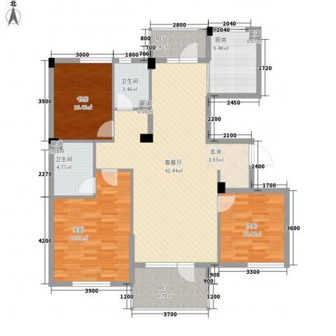 月潭半山洋房3室1厅2卫1厨143.00㎡户型图