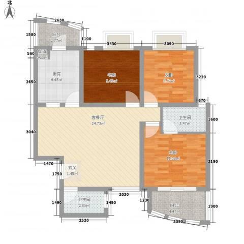 典雅居名雅阁3室1厅2卫1厨108.00㎡户型图