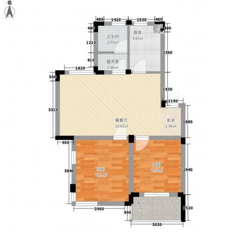 徽商城市风景2室1厅1卫1厨80.00㎡户型图