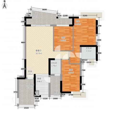 中粮万科金域蓝湾3室1厅2卫1厨129.00㎡户型图