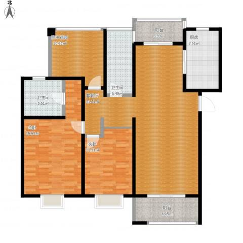 招商雍华府2室1厅2卫1厨159.00㎡户型图