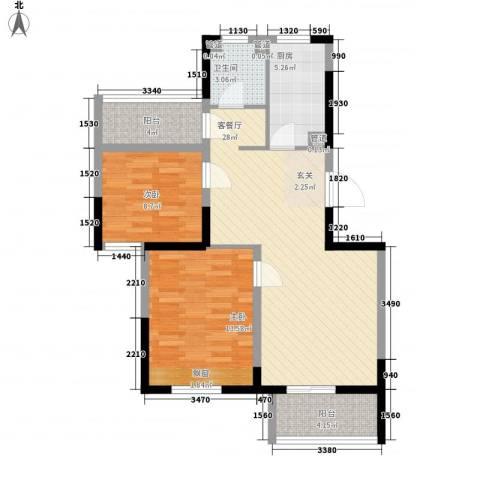 华都・襄湾壹号2室1厅1卫1厨97.00㎡户型图