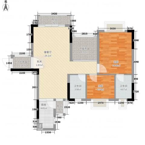 保利香槟花园2室1厅2卫1厨92.00㎡户型图