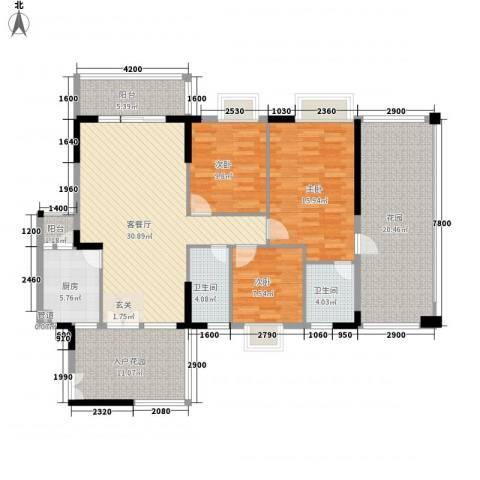 益利名门花园3室1厅2卫1厨118.00㎡户型图