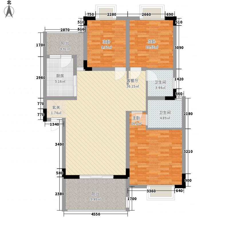 嘉美佳116.10㎡B型户型3室2厅2卫1厨