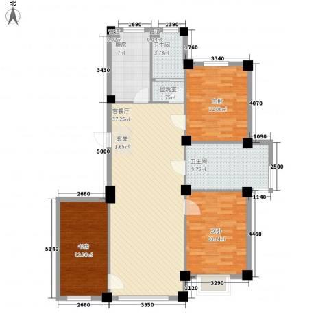 紫光碧海云天3室1厅2卫1厨135.00㎡户型图